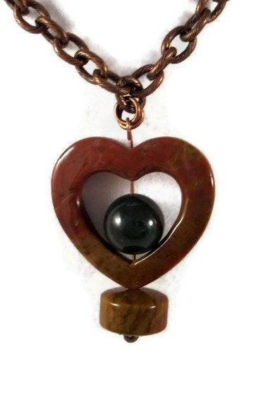 Necklace, Ocean Jasper Gemstone Heart Shaped Pendant with Bloodstone Bead