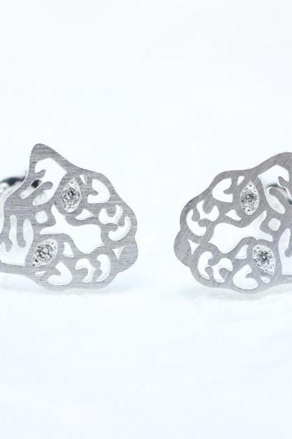 Cut-out Tiger Stud earrings detailed with cubic zirconia in Silver