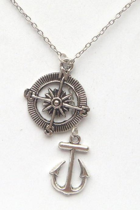 Silver Compass Anchor Lariat Necklace