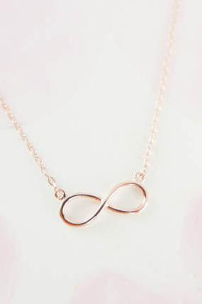 infinity necklace in rose gold