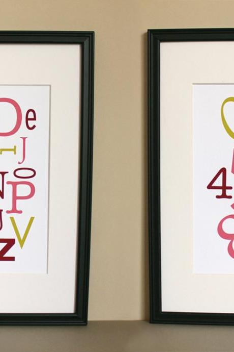 Alphabet and Numbers, Pink and Chartreuse, Two 8x10 Prints
