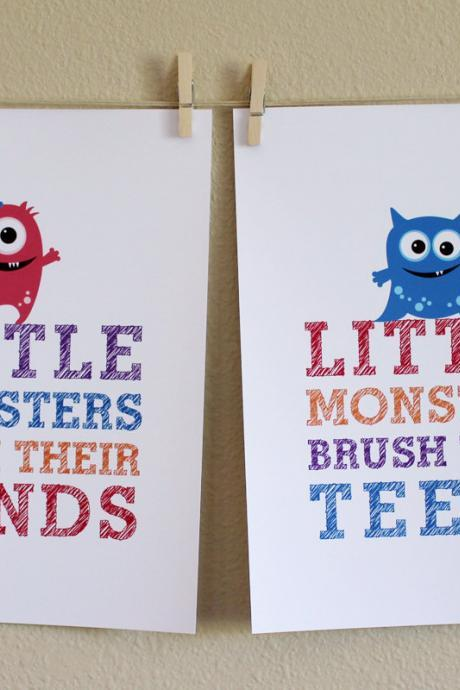 Little Monsters Wash Their Hands and Brush Their Teeth, Two 8x10 Prints - GIRL