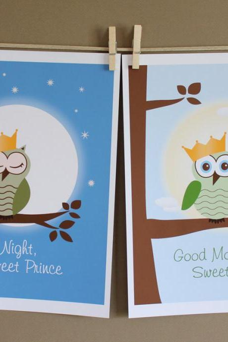 Good Night and Good Morning Sweet Prince, Two 8x10 Prints - BOY