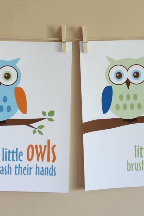 Little Owls Wash Hands and Brush Teeth, Two 8x10 Prints - BOY