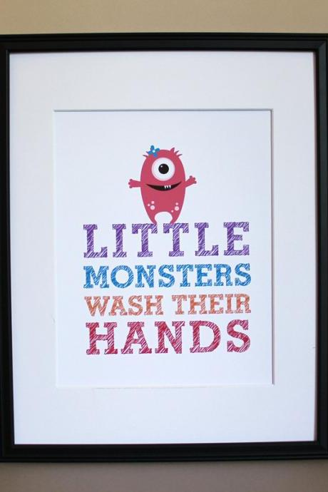 Little Monsters Wash Their Hands art print, 8x10, GIRL