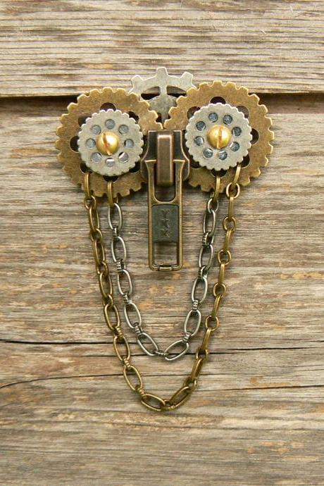 Steampunk Brooch - Zipper Brooch - Owl Brooch