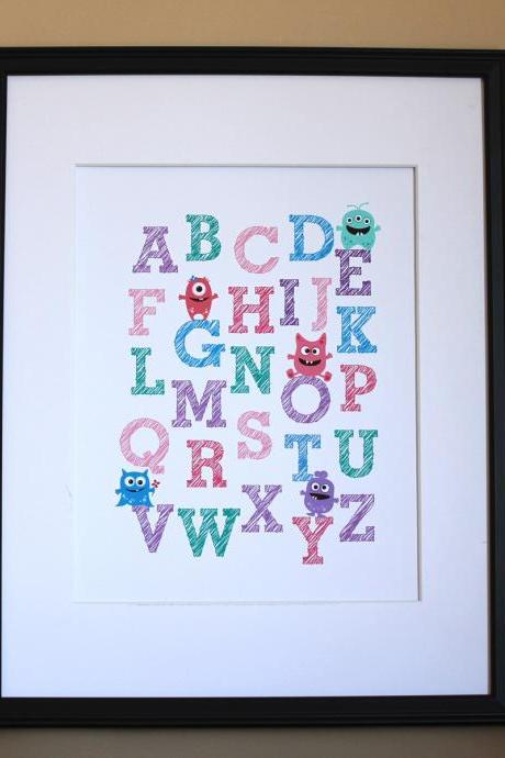 Monster Alphabet art print, 8x10, GIRL