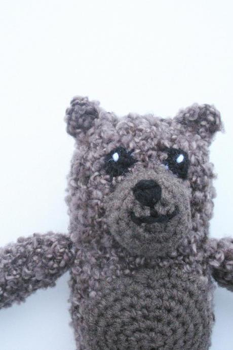 Plush Crochet Brown Bear, ready to ship.