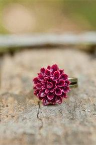 Deep Wine Red Chrysanthemum Cabochon Vintage Style Ring Maid of Honor Gifts - Wine