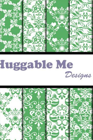Sage Green Damask Paper - Sage & White Damask Designs, Scrapbook Printables for Scrapbook, Wedding, Cards - HMD00065