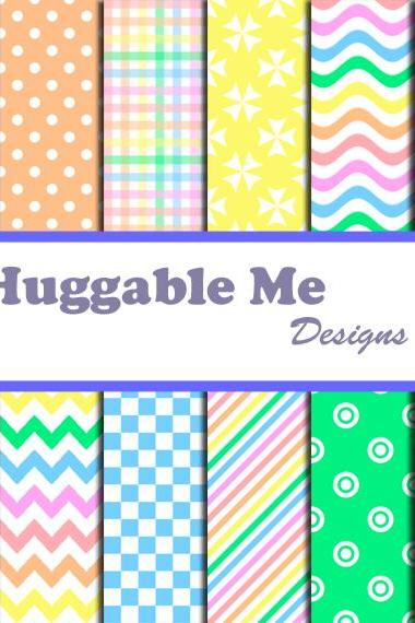 Rainbow Scrapbook Paper - Polka Dots, Chevron, Stripes,Multi-color Papers for Scrapbook, Card Making - HMD00067