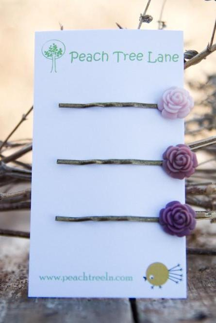 Deep Purple & Pale Lavender Rose Hairpins perfect for Bridesmaid Gifts Vintage Style - Spring Blooms