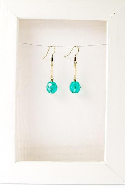 Short dangle earrings with large ocean green glass bead - Sea Nymph