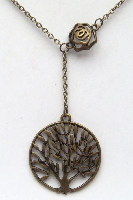 Antiqued Brass Flower Tree Necklace