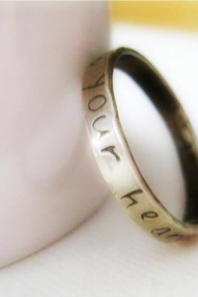 Sterling Silver Stacking Ring - ONE Personalized Hand Stamped Rustic Band