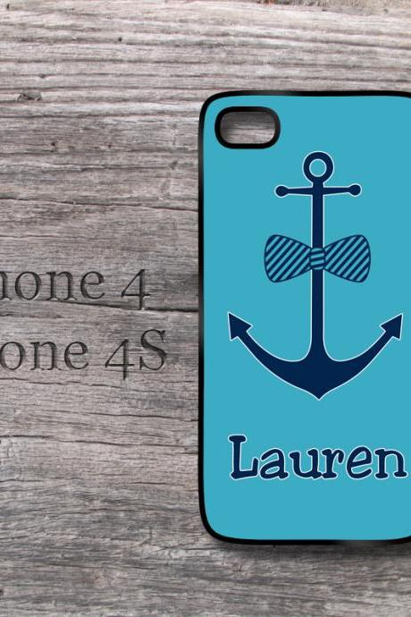 Nautical anchor iPhone blue case with bow personalized cute Iphone 4 case monogram preppy cover