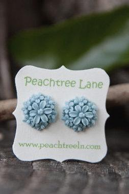 Blue Rose & Lily Flower Cabochon Post Earrings Maid of Honor Gifts Hypoallergenic - Waters