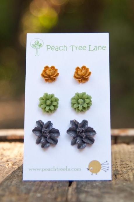 Green Daisy, Purple Lily, Mustard Yellow Rose Post Earring Studs - Persimmon