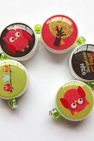 M2M Fall Homecoming Owls Polymer Clay Bead Set of 5 Beads