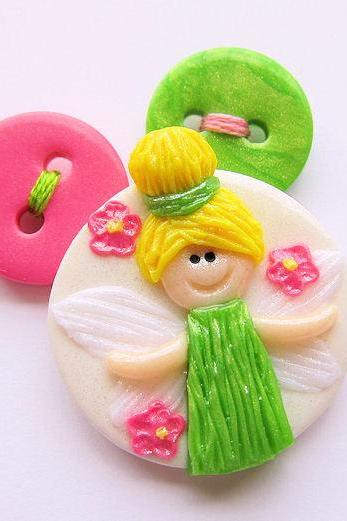 Tinkerbell Polymer Clay Pop Up Buttons Set of 3
