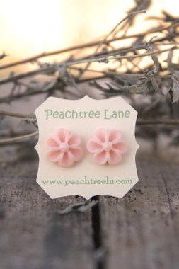 Peach-Pink Flower Post Earrings Bridesmaid Gifts - Peony