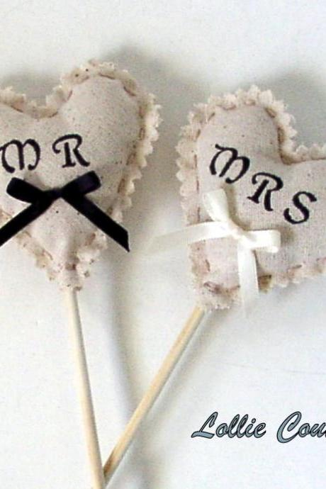 Wedding props - MR & MRS - Wedding photo props - shabby chic wedding hearts