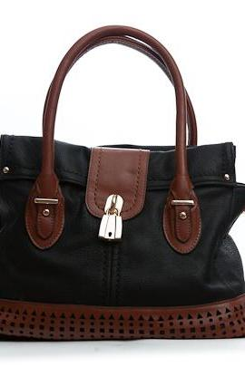 Black and Brown Leather Purse, Black Handbag, Leather Tote, Leather Hobo
