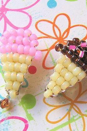 Set of 2 Beaded Ice Cream Cone Barrettes