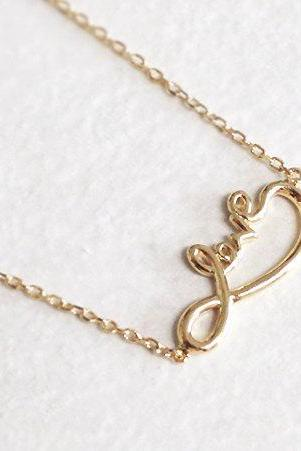 Infinity necklace in gold, love Infinity, love necklace
