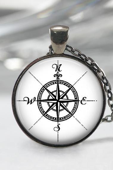 Compass Glass Pendant, Black Charm, Art Pendant,Photo Compass Pendant,Jewelry Compass