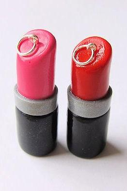Polymer Clay Lipstick Charms Pink and Red - Both Charms Included