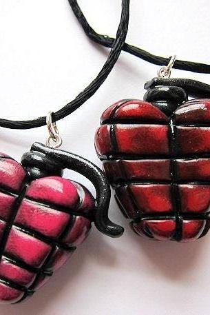 BOOM Heart Grenade Charm Polymer Clay PINK Valentine's Day