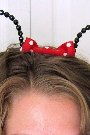 Beaded Minnie Mouse Ears Headband Hat Red Bow