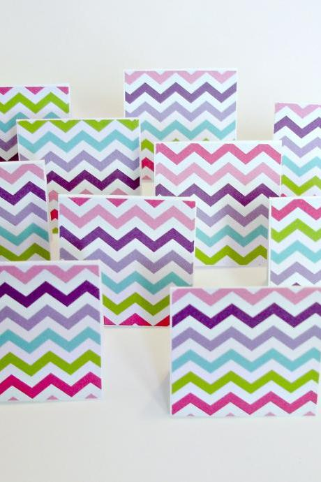 Colorful chevron blank mini note cards Lunchbox notes Set of 8
