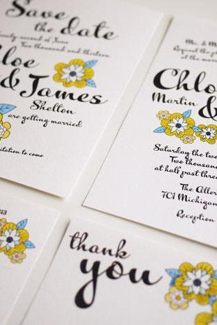 Yellow Daisy Bold Script - Modern Wedding Invitation Suite - (PRINTABLE) - Set of 4