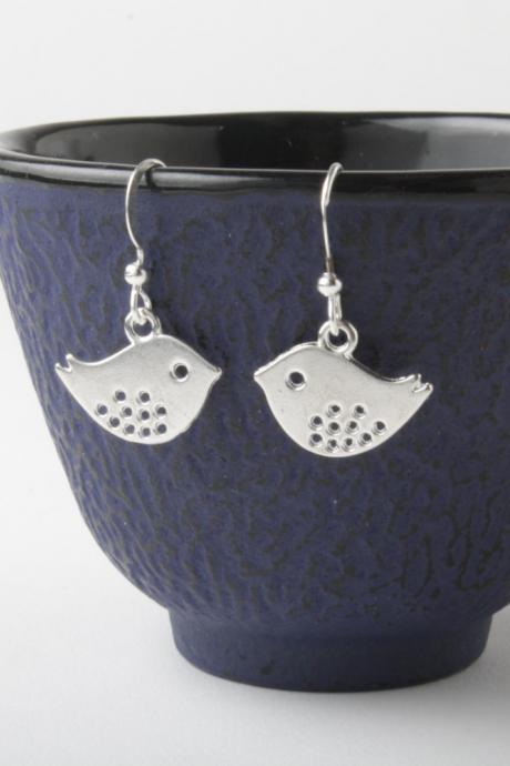 silver birds earrings - silver wire - birds dangles - birds earrings- bird jewelry - silver sparrows
