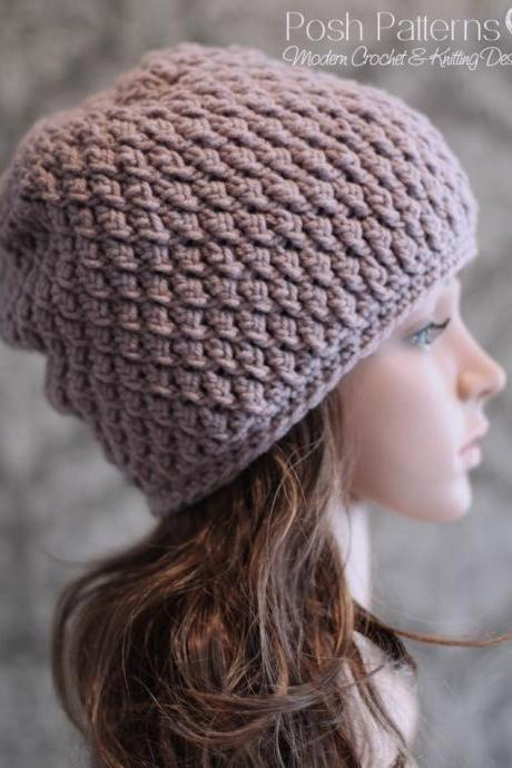 Crochet Hat Pattern - Faux Cable Crochet Beanie Crochet Pattern PDF 237 - Newborn to Adult Sizes