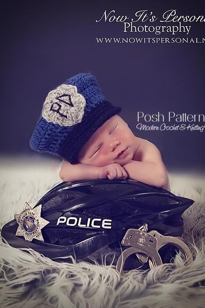 Crochet Hat Pattern Baby Police Man Policeman Hat Crochet Pattern Newborn to 12 Months Sizes PDF 274