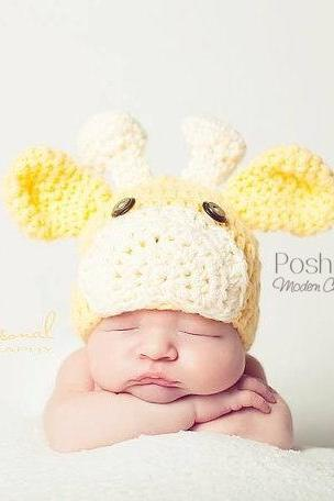 Crochet Hat Pattern - Baby Giraffe Beanie Crochet Pattern PDF 175 - Newborn to Adult Sizes