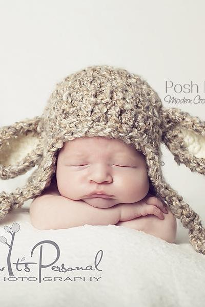 Crochet Hat Pattern - Little Lamb Earflap Hat Crochet Pattern PDF 127 - Newborn to 12 Months 3 Sizes