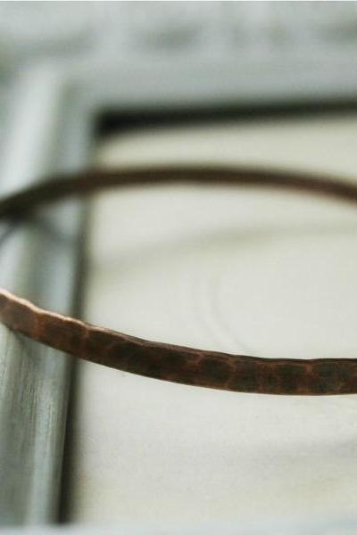 Hammered Copper Wide Bangle Bracelet - Rustic Jewelry