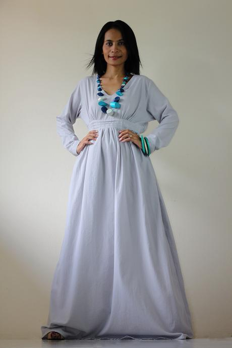 Long Sleeved Maxi Dress - Smokey Grey Maxi Dress : Feel Good Collection