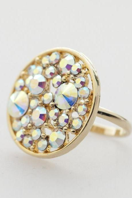 Sparkling big circle adjustable Ring in gold plated
