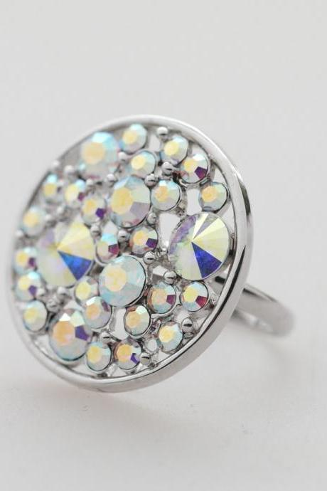 Sparkling big circle adjustable Ring in silver plated