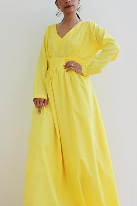 Yeloow Maxi Dress - Long Sleeved Maxi Dress : Feel Good Collection