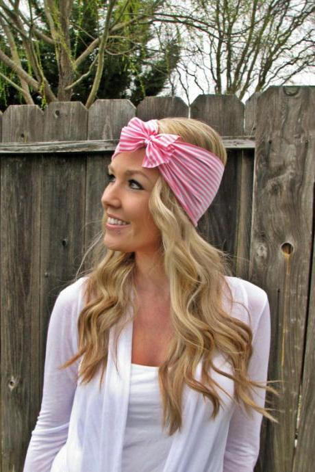 Vintage Multi Style Striped Stretch Jersey Knit Headwrap - Multi Ways To Wear