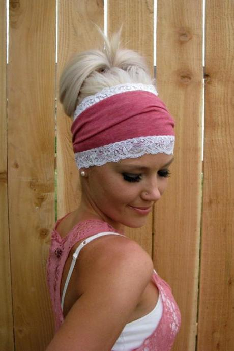 Heather Red Cotton Jersey Knit Headband with Stretch Lace Trim