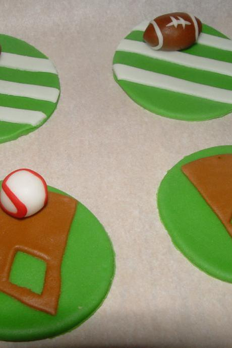 12 Fondant Sports Themed Cupcake Toppers