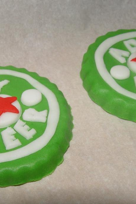 12 Fondant Beer Bottle Cap Cupcake Toppers