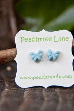 Tiny Baby-Blue Butterfly Earring Post Studs Hypoallergenic - Sky